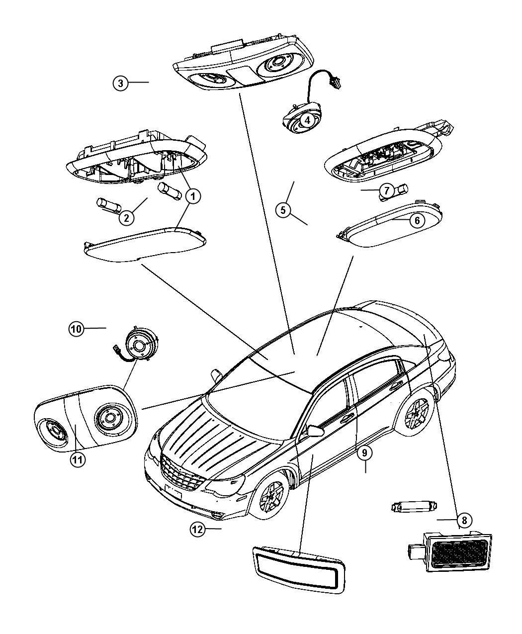 Chrysler 200 Lamp. Reading. Front. Trim: [all Trim Codes