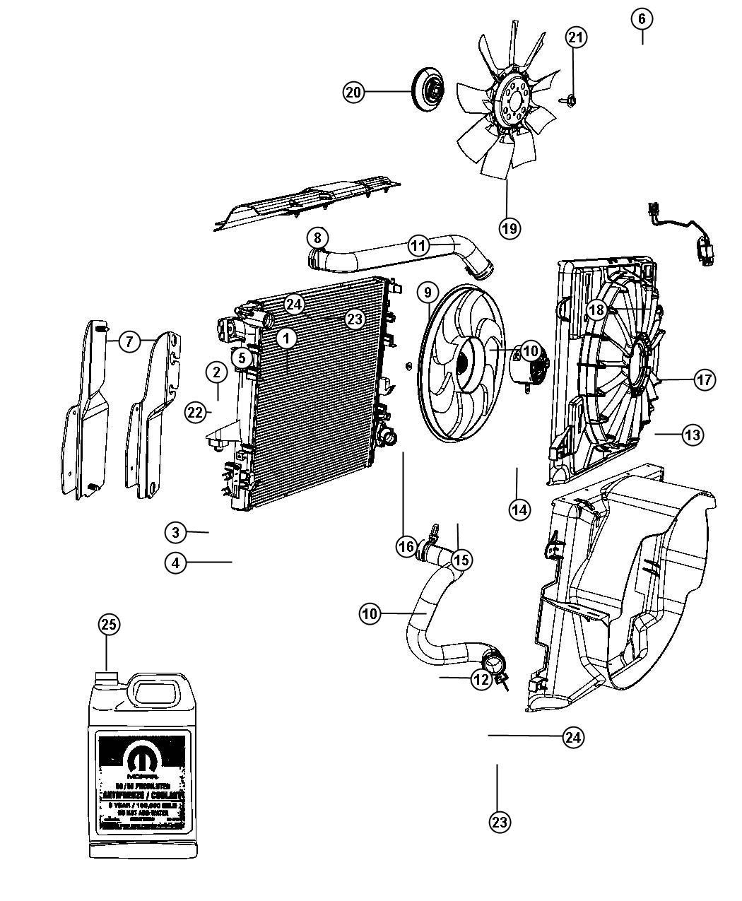 I on 2008 Jeep Wrangler Radiator Diagram