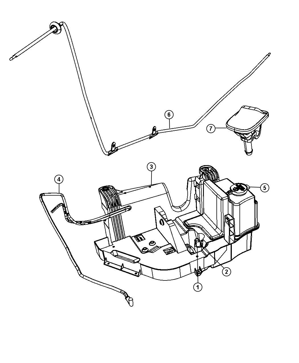 Jeep Wrangler Hose  Windshield Washer  Without  Rear