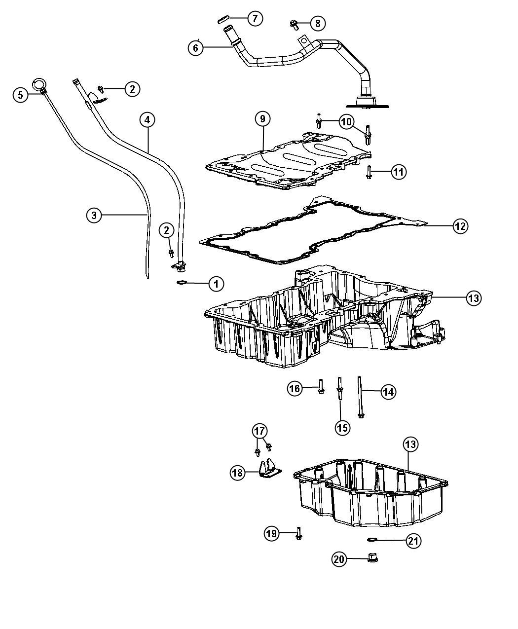 Diagram Engine Oil Pan, Engine Oil Level Indicator And Related Parts 3.0L Diesel [3.0L V6 Turbo Diesel Engine]. for your Plymouth