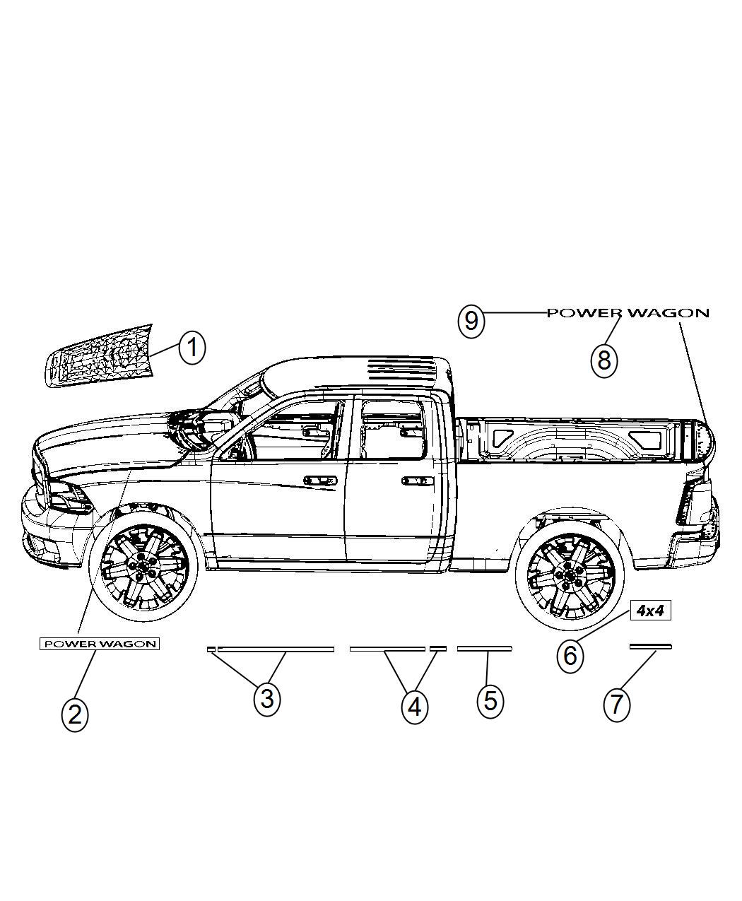 05182408aa - mopar decal  hood  power wagon   powerwagon decal